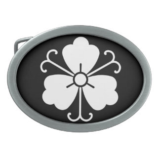 Three wisteria blooms with vines belt buckle