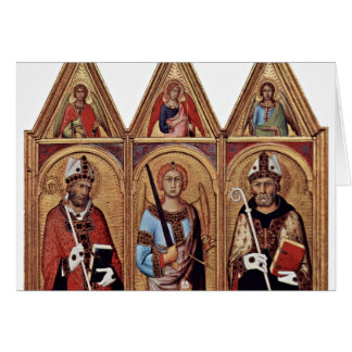 Three With Holy Angels In Each Gable, From Left: Card