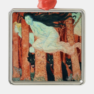 Three Women and Three Wolves w c Christmas Ornament
