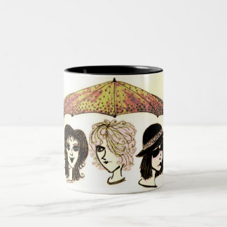 Three Women Under Umbrella Artwork Mug