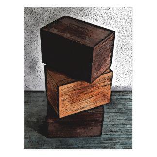 Three Wooden Boxes On Dresser Postcard