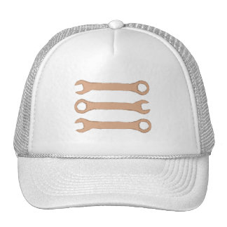 Three Wrenches Tools Brown Mesh Hats