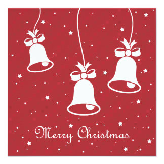 Three Xmas Bells Greetings Card 13 Cm X 13 Cm Square Invitation Card