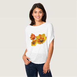Three Yellow and Orange Tulips Circle Top T-Shirt