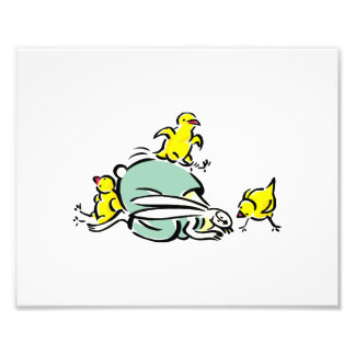 three yellow chicks dancing on weird bunny.png photograph
