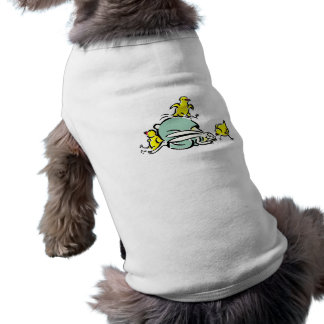 three yellow chicks dancing on weird bunny.png sleeveless dog shirt