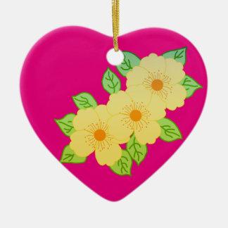 three yellow flowers ceramic ornament