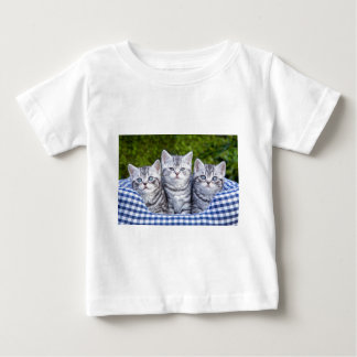 Three young silver tabby cats in checkered basket baby T-Shirt