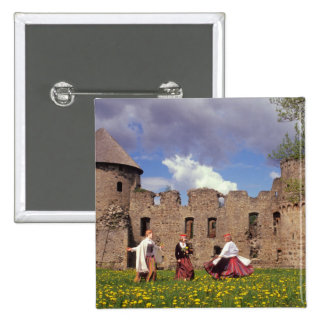 Three young women in traditional clothes 15 cm square badge