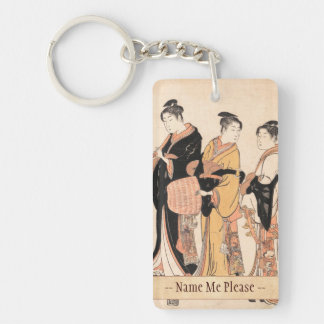 Three Young Women Masquerading as Komuso Key Ring