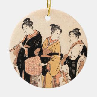 Three Young Women Masquerading as Komuso Round Ceramic Decoration