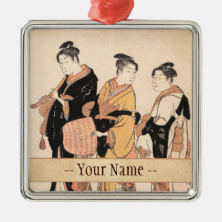 Three Young Women Masquerading as Komuso Silver-Colored Square Decoration