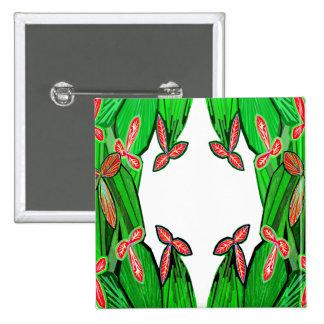 Threme Green - Exotic CACTUS Flowers 15 Cm Square Badge