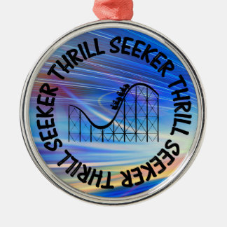 THRILL SEEKER ROLLER COASTER Silver-Colored ROUND DECORATION