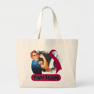 Throat Cancer Fight Strong Rosie Riveter Jumbo Tote Bag