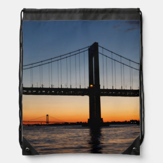 Throggs Neck and Whitestone Bridge Sunset Drawstring Bag