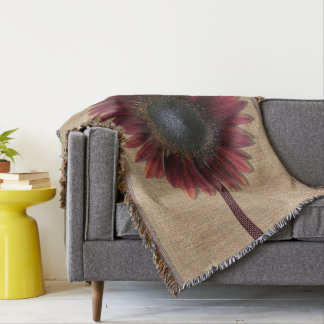Throw Blanket - Burlap and Bordeaux Sunflower