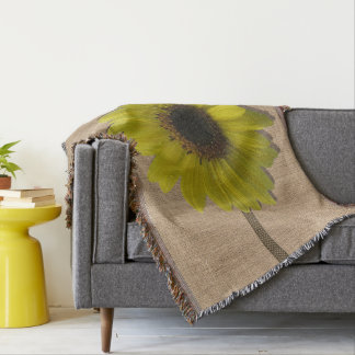 Throw Blanket - Burlap and Rain-Drenched Sunflower
