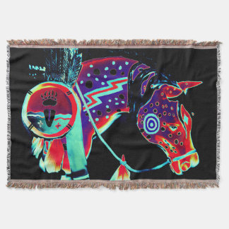 """Throw Blanket with """"Painted Pony"""" design"""