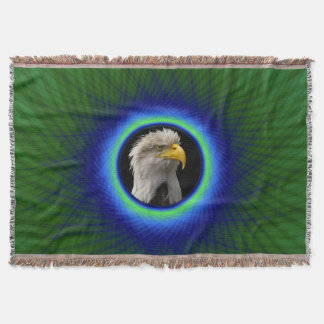 Throw Blanket  Woven Frame in Green and Blue