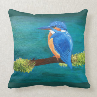 Throw cushion with Kingfisher design