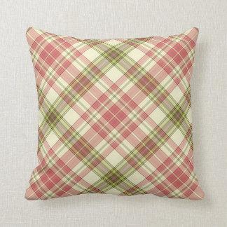 Throw Cushion with Plaid Design