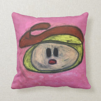 "Throw Pillow 16"" x16"" - Blondie in a Red Beret"