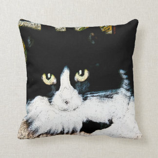 Throw Pillow black and white cat 16X16