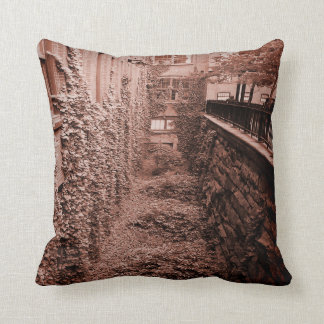 Throw Pillow - Brick & Ivy Scene- Sepia