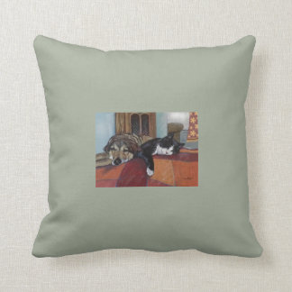 """Throw pillow cat and dog pets, """"cozy companions"""""""