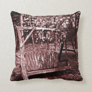 Throw Pillow - Country Wooden Swing - Brown