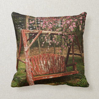 Throw Pillow - Country Wooden Swing - Full Color