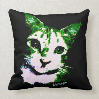 Throw Pillow Green Cat (of 4 colors)