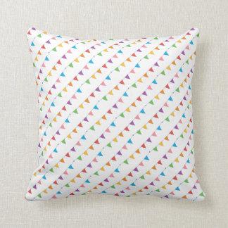 Throw Pillow - Multicolor Flag Bunting Design