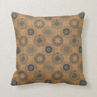 Throw Pillow - Navy Compass on Gold