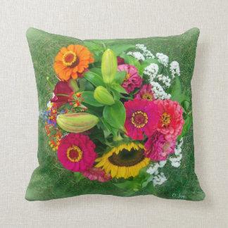 Throw Pillow: Sunflower & Zinnia Bouquet Cushion