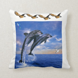 throw pillow white blue dolphin eagles
