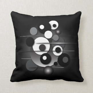 """Throw Pillow with """"Circles Black and White"""" Design"""