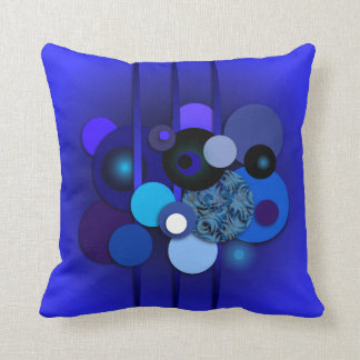 "Throw Pillow with ""Circles Blueberry"" design"