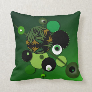 """Throw Pillow with """"Circles Green Olive"""" Design"""