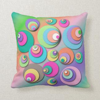 "Throw Pillow with ""Circles Pastel"" Design"