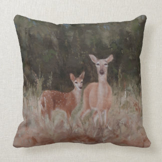 Throw Pillow with Doe and Fawn