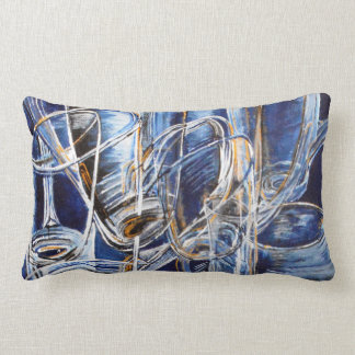 Throw pillow with glasses in blue