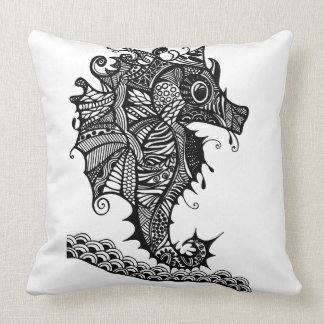 Throw pillow with hand drawn Sea Horse