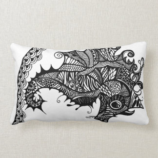 Throw pillow with hand drawn Sea Horse Cushions