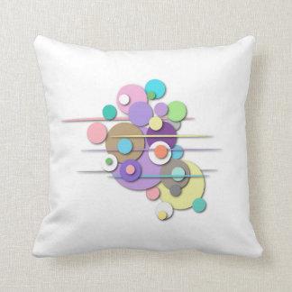 "Throw Pillow with ""Pastel Circles"" Design"