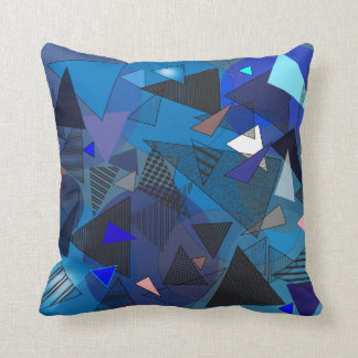 "Throw Pillow with ""Triangles Denim"" design"