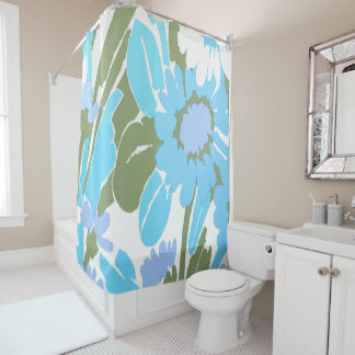 Throwback 70s Watercolor Print Shower Curtain