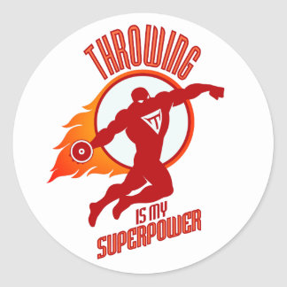 throwing discus is my superpower classic round sticker
