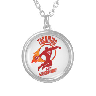 throwing discus is my superpower silver plated necklace